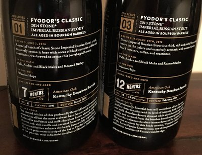 Back label details of two vintages of Fyodors Classic