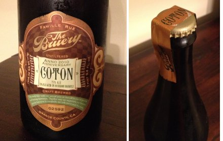 The Bruery Coton Label and Taped Cap