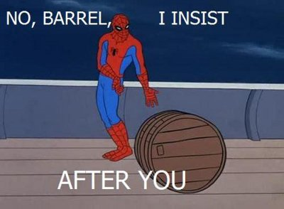 Spidey being polite to barrels