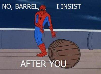 Spidey being polite to barrels